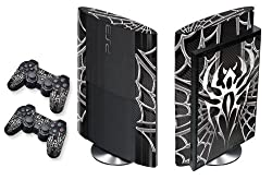 Designer Skin for PS3 Super Slim Console and Two Controllers - Widow Maker - Chrome/Black