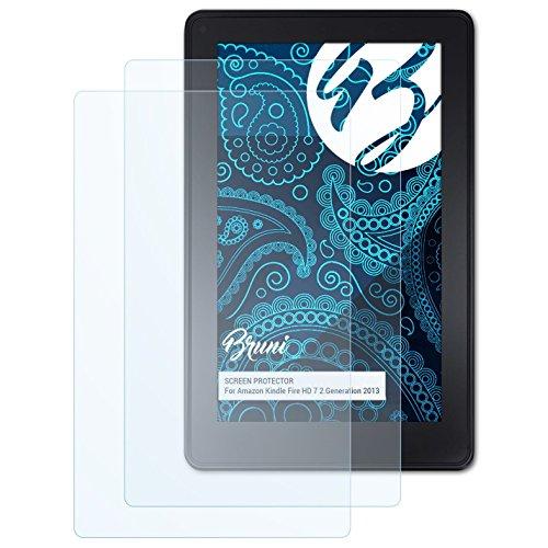 Bruni Schutzfolie kompatibel mit Amazn Kindl F¡re HD 7 2.Generation 2013 Folie, glasklare Displayschutzfolie (2X) (Screen Protector Hdx 7)