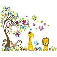 Rainbow Fox Jungle Zoo:Búho sobre el árbol con jirafa y león entre los niños y para los niños.