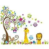 Rainbow Fox Wandtattoo Dschungel Wald Löwe Giraffe, Eichhörnchen Eule auf bunten Baum Wandsticker für Kinderzimmer Kindergarten Schlafzimmer
