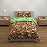 Bloomsbury Mill - Green/Brown Pixel Reversible Bedding Set - Single Duvet Cover and Pillowcase