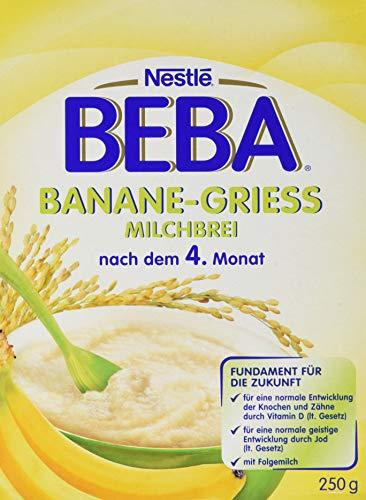 Nestlé BEBA Milchbrei Banane-Grieß, Babybrei in Pulverform, glutenfreie Babynahrung, mit wertvollen Vitaminen, nach dem 4. Monat, 9er Pack (9 x 250 g)