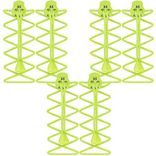 55Sport Lacets élastiques hautement réfléchissants avec système de verrouillage Fluorescent Yellow (3 Pack)