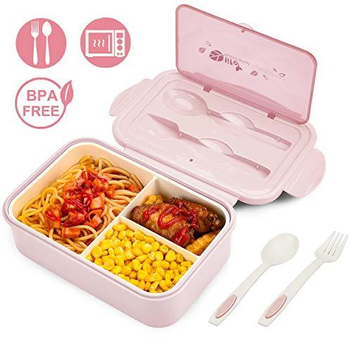 Bibury Brotdose, Auslaufsichere Lunch-Boxen Kinder und Erwachsene, Bento Lunch Boxen mit 3 Fächern und Besteck, Lebensmittelbehälter BPA-frei, mikrowellen- und spülmaschinenfest - Pink