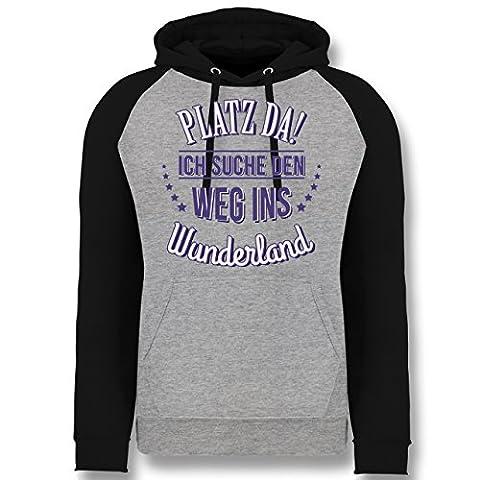 Sprüche - Platz da - Ich such den Weg ins Wunderland - M - Grau meliert/Schwarz - JH009 - Cooler Unisex Baseball Hoodie für Damen und (Frühling Schlagwörter)