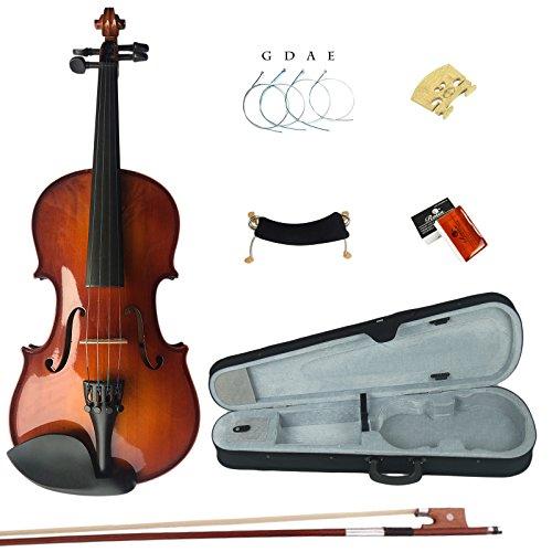 Esound 4/4 3/4 1/2 1/4 1/8 Massivholz Schüler Akustische Violine Geige Anlasser Ausrüstung in Voller Größe (1/16-size) (E-geige-starter-kit)