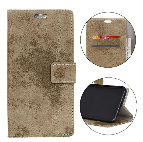 Sunrive Hülle Für Alcatel A7 XL 7071D, Magnetisch Schaltfläche Ledertasche Schutzhülle Case Handyhülle Schalen Handy Tasche Lederhülle(Retro Hellbraun)+Gratis Universal Eingabestift