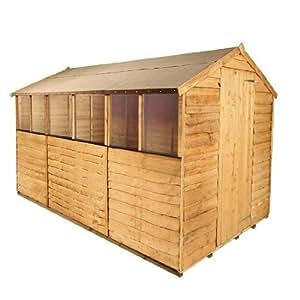 BillyOh rustikales Gartenhaus aus Holz mit Dachüberstand, 3 m x 1,8 m