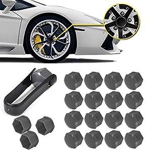 BAAQII 20x Wheel Lug Nut Bolt Center Cover Gray 17mm Caps & Tool for VW Audi Skoda
