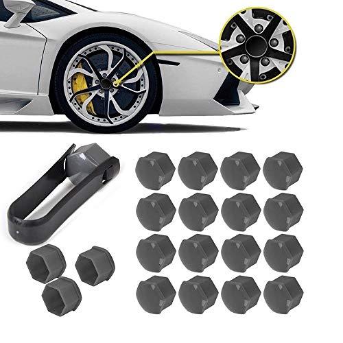 BAAQII 20x Cache-écrou Boulon Cache-moyeu Gris 17mm Capuchons et Outils pour VW Audi Skoda