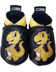 C2BB - Chaussons bebe cuir souple garçon   Dino orange