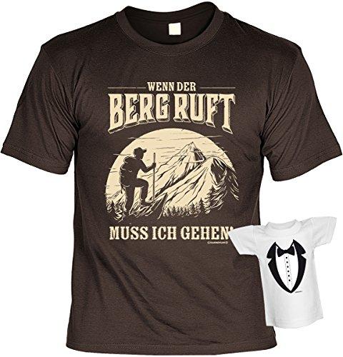Fun Shirt mit lustigem Motiv: Wenn der Berg ruft muss ich gehen! - Mit gratis Mini Shirt - Geschenk - Geburtstag - braun Braun