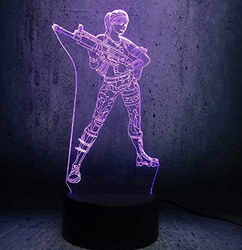 Nachtlicht HOLD Gun Cool Girl 3D Illusion Nachtlichter LED Tisch Nachttischlampe Schlaf Wohnkultur Kind Kind Haus Dekor USB Sockel Schlaf Lampe -