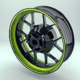 Felgenrandaufkleber Motorrad & Auto (16 - 19 Zoll) - Felgenstreifen Set Verschiedene Farben (Grün - glänzend)