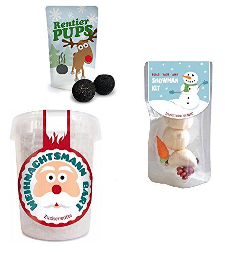 Preisvergleich Produktbild Liebeskummerpillen - Set aus Snowman Kit (19 g),  Weihnachtsmannbart (30 g) und Rentierpupsen (18 g)