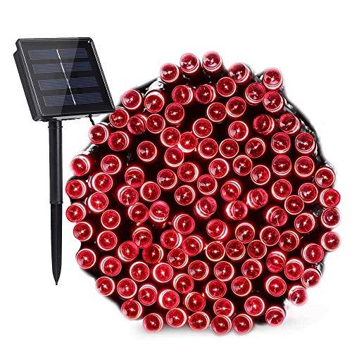 Nexvin luci natale esterno solare, stringa di luci a energia solare impermeabile, 22m 200 led 8 modi, catena luminosa per addobbi natalzi, luci rosa per albero di natale
