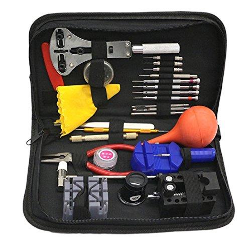 Preisvergleich Produktbild Hochwertiges 27pcs Werkzeug-Satz-Uhr-Reparatur-Werkzeug-... mit schwarzem Fall-Änderungs-Uhr-Zelle u. Zusätzen
