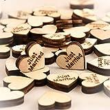 Gemini _ Mall® Holzherz-Verzierungen zum Basteln, 25 mm, Packung mit ca. 100 Stück, Tischdeko, Hochzeitsdekoration Just Married