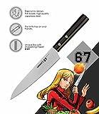 SAMURA 67 Profi Allzweckmesser Ultra-scharf, groß, aus japanisch AUS 8 Edelstahl, 15,2 cm Klinge, mit Handgriff, oval, Kochmesser, mit Schleifpapier