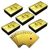 HAC24 5X 54 Spielkarten mit Goldüberzug | Pokerkarten | Poker Skat Gold Plastikkarten