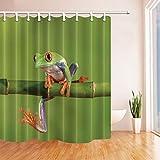 GzHQ 3D-Digitaldruck-Tierdekoration, Frosch auf Bambus, Duschvorhang, schimmelresistent, wasserdicht, Polyester-Stoff, Badezimmer-Dekoration, Badevorhänge, Haken im Lieferumfang enthalten, 180,9 x 182,9 cm