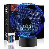 Luz de Noche LED Ilusión 3D Lámpara de Mesa de Cabecera 7 colores de dormir con el botón de tacto inteligente Lindo regalo de calentamiento Decoración creativa ideal de arte y artesanía (Fútbol)