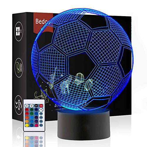 LED Nacht Lichter 3D Illusion Nachttisch Lampe 16 Farben ändern Schlafen Beleuchtung mit Smart Touch Button Nette Geschenk Warming präsentieren kreative Dekoration ideale Kunst (Fußball)