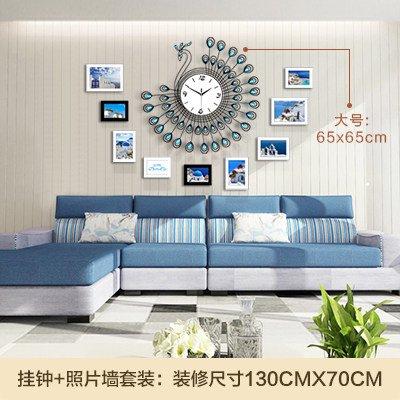 YANYANGXIN Moderne bunte stummer Wanduhr Home Office Decor Geschenk für Küche Wohnzimmer Schlafzimmer Peacock/20 Nacht Licht Zoll/blau große Wanduhr + Rahmen an der Wand