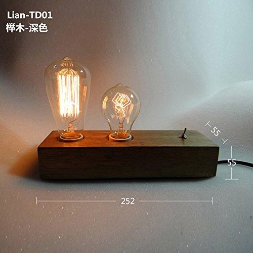 TD Tischlampe-Massivholz Holz Persönlichkeit kreative alte Lampen Retro Schreibtischlampe, Das Café in vitro Feuer Glühbirne,Buche - Dunkel -