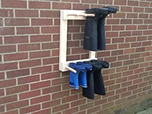Wall Mounted Welly Rack Wellington Riding Boot Rack 4 Pair