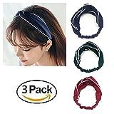 3Pack mujer diademas elástica turbante Head Wrap rayas Hit Color Estilo trenzado de nudo pelo banda