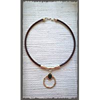 Necklace silver 925 and leather, leather choker, zamak pendant bathed in silver and green resin, handmade, mother's day