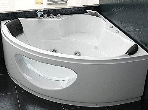 Whirlpool Badewanne Toskana mit 10 Massage Düsen + Unterwasser Beleuchtung / Licht + Wasserfall Eckwanne mit Glas Hot Tub Spa indoor / innen günstig