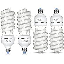 Neewer® 65W 220V 5500K tri-phosphor espiral CFL luz del día equilibrada Bombilla en E27Socket para Fotográfico y Iluminación de Video Estudio (4unidades)