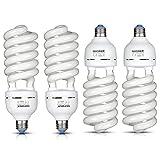 Neewer® 65W 220V 5500K tri-fosforo spirale bulbo fluorescente compatto CFL luce naturale equilibrata lampadina con montatura E27per foto e video studio di illuminazione (4pezzi)
