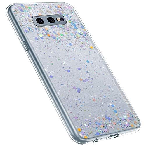 MoreChioce kompatibel mit Galaxy S10E Hülle,kompatibel mit Galaxy S10E Glitzer Handyhülle,Kreativ Durchsichtig Dot Bling Paillette Strass Silikonhülle Schutzhülle Kristall Flexible Bumper - Bling Dots