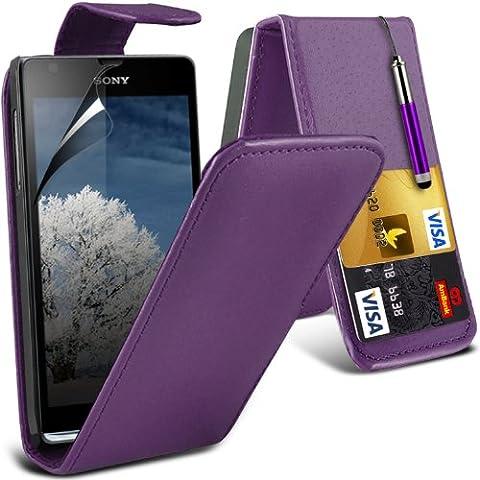 (Viola) Sony Xperia SP protettiva Carta di Faux di Credito / Debito cuoio di vibrazione della cassa della pelle della copertura e schermo LCD della protezione della protezione By Spyrox