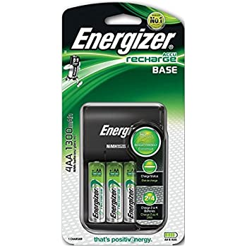 Energizer Base Charger + 4 AA 1300mAh 1.2V Pre-charged Rechargeable Batteries
