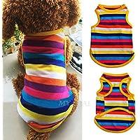Mascota Perro Cachorro de Rainbow Chaleco de ropa camiseta Disfraces–suave verano rayas Outfit