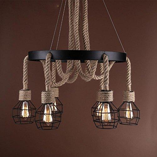 BJVB Ferro industriale lampada Living camera da pranzo negozio di abbigliamento di camera Cafe corda Lampadario Birdcage Lampadario (corda di canapa)