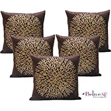 Belive-Me Velvet Printed Brown Cushion Covers 16x16 inches Set of 5