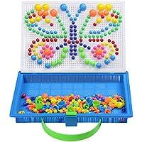 Juego Mosaico Pinchos Seta Bloques Construccion Niños Rompecabezas Infantil Juguete Creativo para Niña 3 4 5 6 7 Años (296 Piezas)