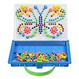 Mosaik Steckspiele Spielzeug Pilz Mosaik Puzzle Set Steckerperlen Platte DIY Kreatives Spielzeug Bauen für Kinder Mädchen Jungen ab 3 4 5 6 7 Jahre (296 Stücke)