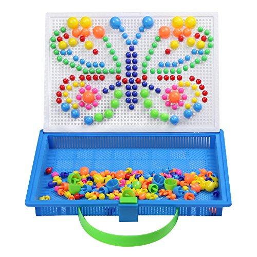 Mosaik Steckspiele Spielzeug Pilz Mosaik Puzzle Set Steckerperlen Platte DIY Kreatives Spielzeug Bauen für Kinder Mädchen Jungen ab 3 4 5 6 7 Jahre (296 Stücke) (Beliebtes Spielzeug Für Mädchen)