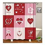 Bishilin Bad Vorhang für Badezimmer Valentine's Day Herz I Love You Anti Schimmel Duschvorhang Waschbar Polyester-Stoff 180X200