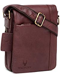 WildHorn 100% Genuine Leather Sling Messenger Bag (Bombay Brown) L- 8.5inch W-3 inch H-10.5 inch