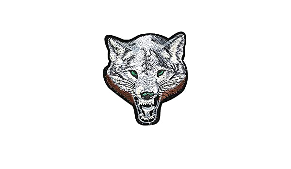 1Pcs Creative Animals Embroidery Patch Clothes Repair Fabric Patch Sew On Patch for Hat Bag Clothing DIY Decoration Patch Single Wolf Head
