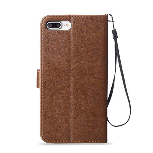 iPhone 8 Plus Hülle Weiß 3D Mariposa Gras PU Leder Wallet Handytasche Flip Etui Schutz Tasche mit Integrierten Card Kartensteckplätzen und Ständer Funktion Für Apple iPhone 8 Plus + Zwei Geschenk braun