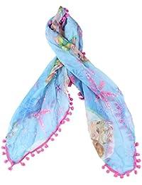 Foulard La Reine des Neiges- Frozen-60 x 60 cm- bleu et rose- 100% polyester.