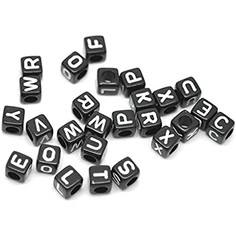 500pezzi Cubo Alfabeto Lettera perline insieme, in Bigpack 6x 6mm nero